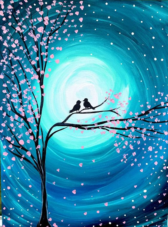 40 Easy Landscape Painting Ideas for Beginners, Easy Tree Bird Painting Ideas, Easy Acrylic Paintings, Simple Canvas Painting Ideas