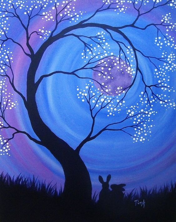 Easy Landscape Paintings Ideas for Beginners , Tree Painting, Acrylic Landscape Paintings, Night Sky Painting, Landscape Paintings