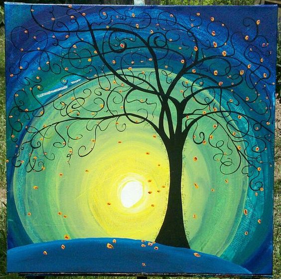 Easy Landscape Painting Ideas for Beginners, Tree Painting Ideas, Easy Landscape Painting Ideas, Tree of Life Painting