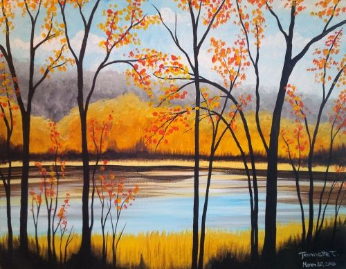 Tree Painting, Forest Tree Painting, Easy Landscape for Beginners, Wall Art Paintings
