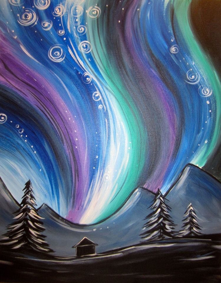 Night Sky Painting, Acrylic Landscape Paintings, Easy Landscape Paintings Ideas for Beginners