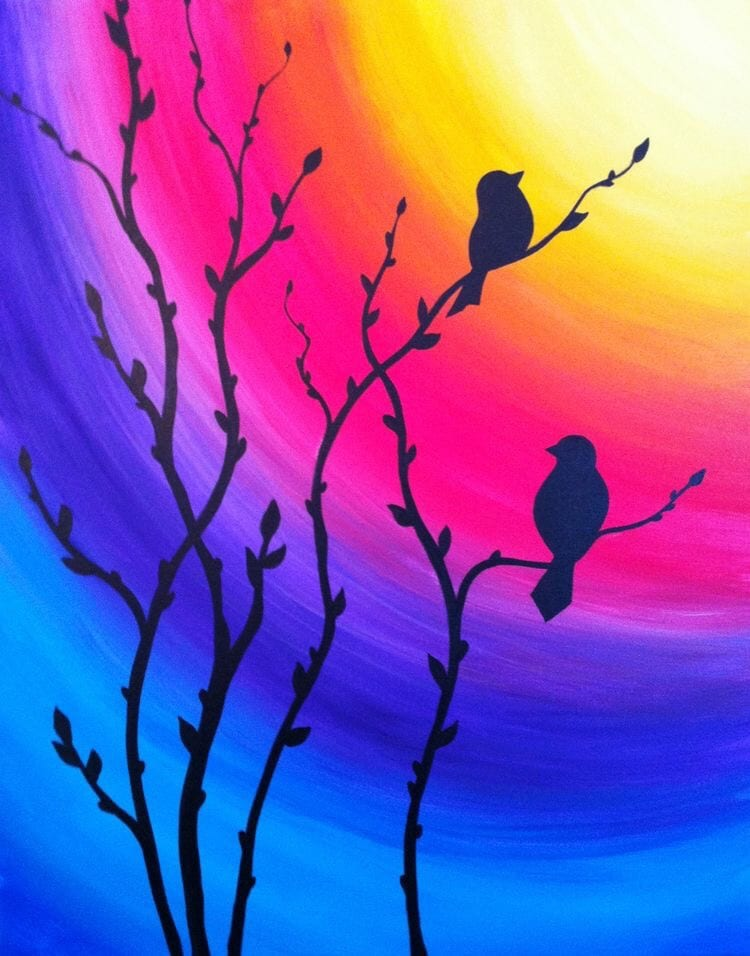 Love Birds Painting, Night Sky Painting, Acrylic Landscape Paintings, Easy Landscape Paintings Ideas for Beginners