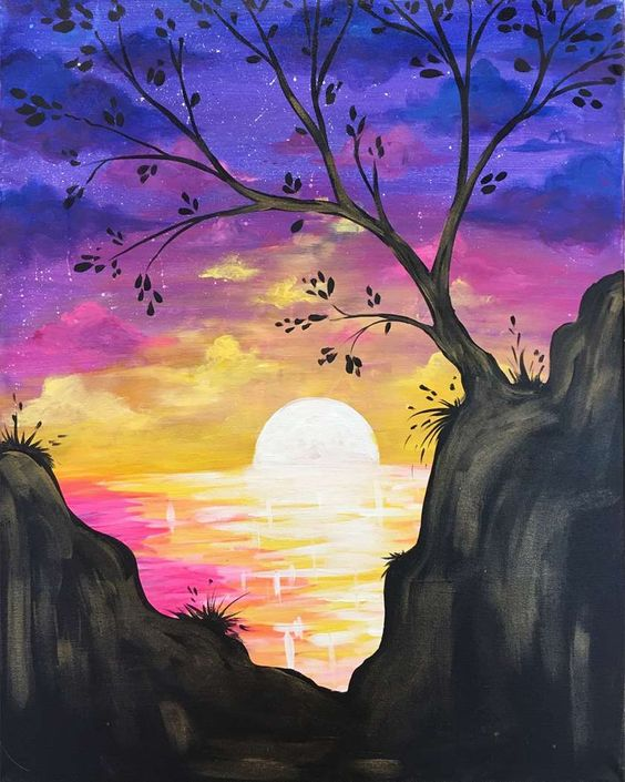 40 Easy Landscape Painting Ideas for Beginners, Simple Canvas Painting Ideas, Easy Acrylic Paintings, Easy Tree Painting Ideas