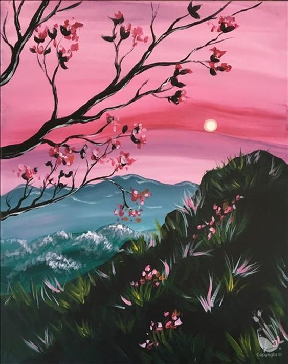 40 Easy Landscape Painting Ideas for Beginners, Simple Canvas Painting Ideas, Easy Acrylic Paintings, Easy Mountain Painting Ideas