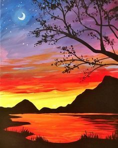 Night Sky Painting Ideas, Mountain Landscape Paintings, Easy Landscape Paintings Ideas for Beginners