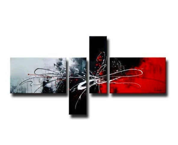 Huge Art, Abstract Artwork, Black and Red Canvas Painting