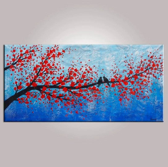 Contemporary Wall Art, Abstract Art, Modern Art, Love Birds Painting, Art for Sale