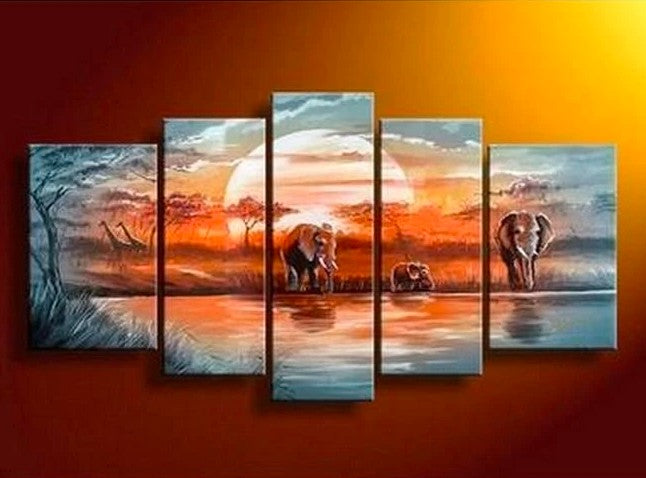 African Painting, Bedroom Canvas Painting, African Elephant Painting, Acrylic Wall Art Paintings, African Landscape Painting