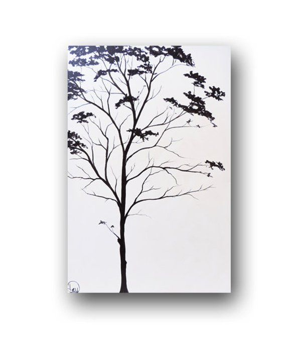 Black Tree Painting, White Tree Painting, Easy Landscape for Beginners, Acrylic Tree Painting