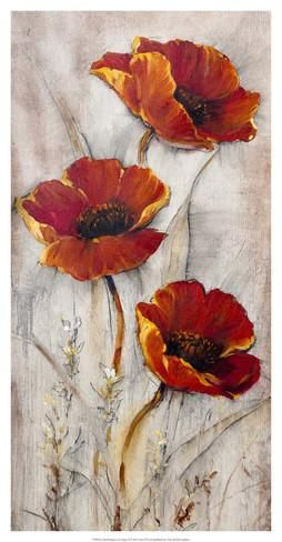 Red Poppy Flower Paintings, Acrylic Flower Paintings, Flower Paintings Abstract, Texture Artwork, Impasto Paintings