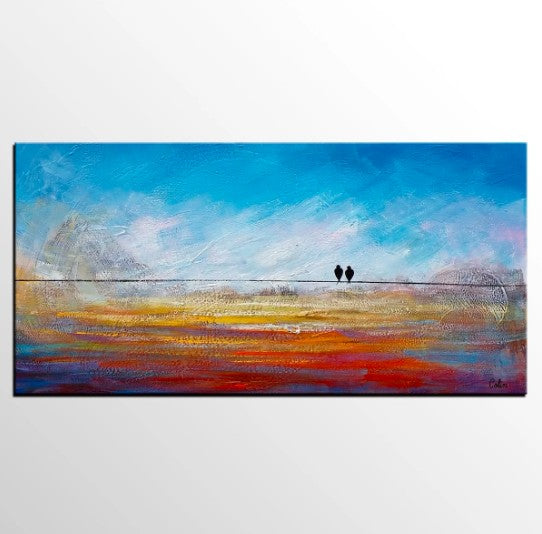 Abstract Artwork, Modern Art, Love Birds Painting, Art for Sale, Abstract Art Painting, Painting for Sale