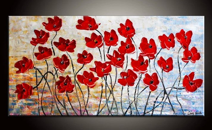 Flower Painting, Acrylic Flower Painting, Abstract Flower Painting, Texture Paintings, Red Flowers
