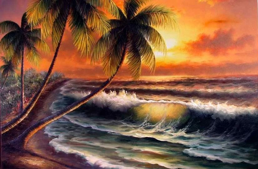 Palm Tree, Sunrise Painting, Hand Painted Wall Art, Hawaii Beach, Seashore Painting Seascape Painting, Large Oil Painting