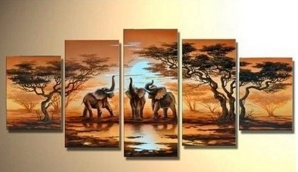 Canvas Painting for Living Room, African Elephant Painting, African Painting, Living Room Wall Art painting, African Landscape Painting