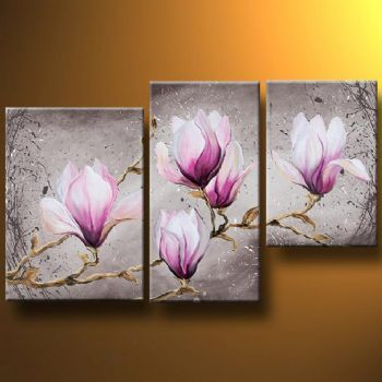 Magnolia Flower Paintings, Acrylic Flower Paintings, Flower Paintings, 3 Piece Wall Art Paintings, Paintings for Living Room