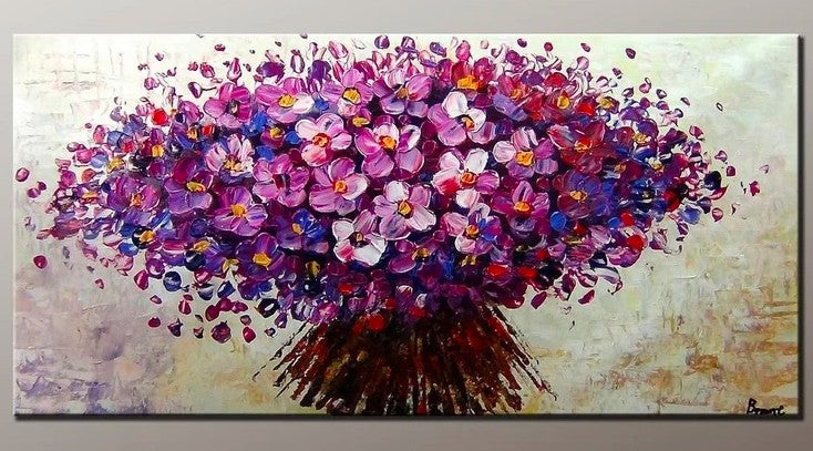 Flower Painting, Acrylic Flower Painting, Abstract Flower Painting, Texture Paintings, Purple Flowers