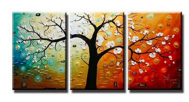 Flower Tree Painting, 3 Piece Painting, 3 Piece Wall Art, 3 Piece Canvas Painting