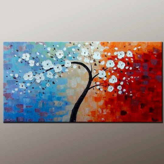 Acrylic Painting Flower, Tree Paintings, Acrylic Wall Art, Acrylic Texture Artwork, Flower Paintings