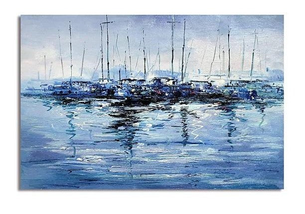 Abstract Landscape Paintings, Boat Paintings, Palette Knife Paintings, Hand Painted Canvas Art