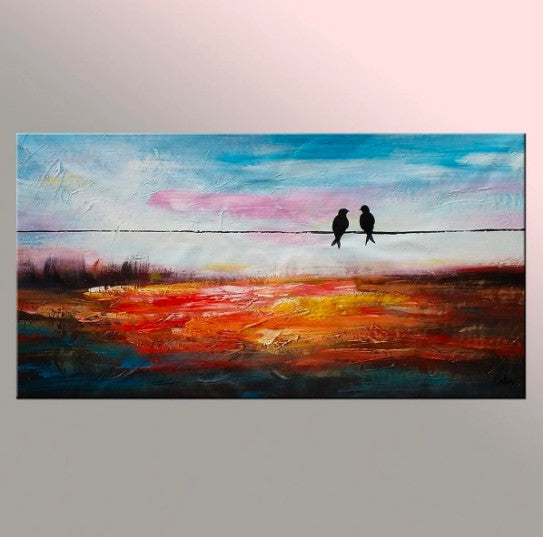 Contemporary Abstract Artwork, Wall Art, Modern Art, Love Birds Painting