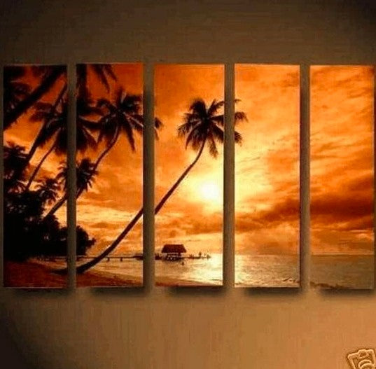 Hawaii Seashore, Sunrise Painting, Landscape Painting, Canvas Painting for Living Room, 5 Piece Wall Art