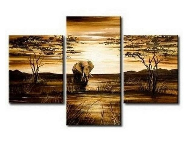 Acrylic African Painting, Canvas African Art, African Painting, 3 Piece Canvas Paintings