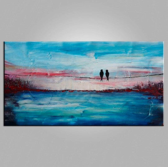 Love Birds Painting, Art for Sale, Abstract Art Painting, Living Room Wall Art