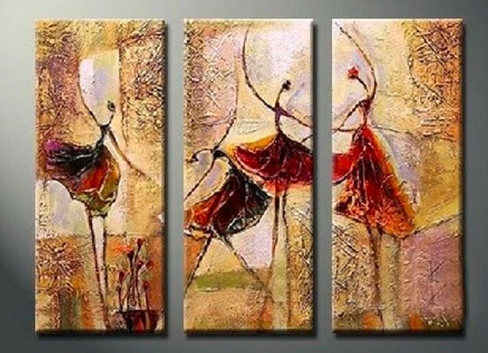 3 Piece Painting, 3 Piece Wall Art, 3 Piece Canvas Painting, Ballet Dancer Painting