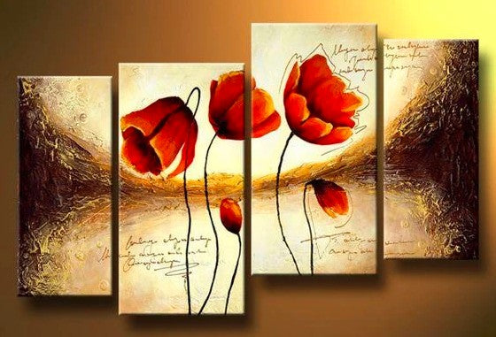 Tulip Flower Paintings, Acrylic Flower Painting, Abstract Flower Art, Bedroom Wall Art