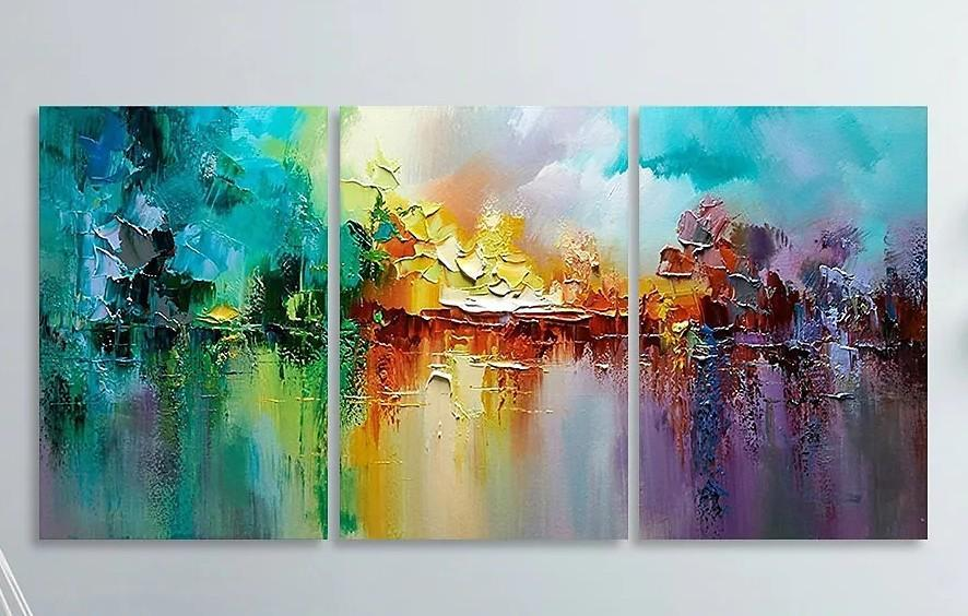 Heavy Texture Painting, Large Painting for Living Room, Palette Knife Painting, Acrylic Painting on Canvas
