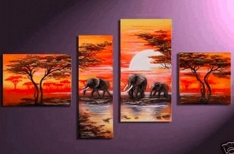 African Landscape Painting, Sunset Paintings, African Painting, Large Paintings for Living Room, Buy Paintings Online