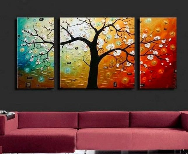 3 Piece Painting, 3 Piece Wall Art, 3 Piece Canvas Painting, Flower Tree Painting