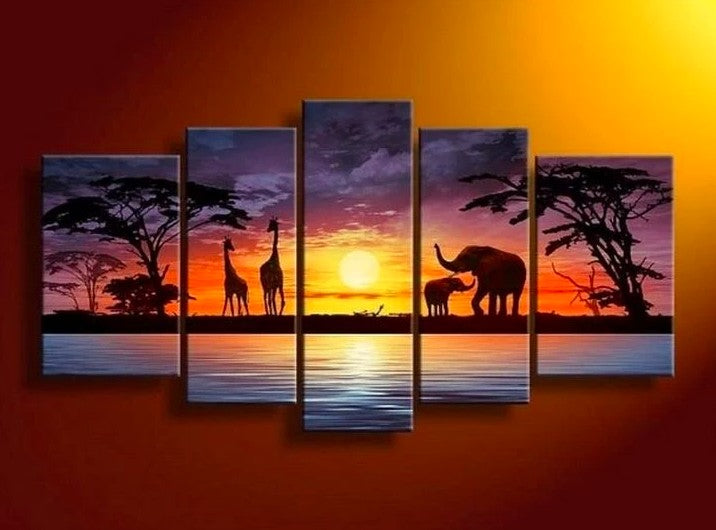 African Painting, Sunrise Painting, Acrylic Painting Landscape, 5 Piece Wall Art, Living Room Canvas Painting