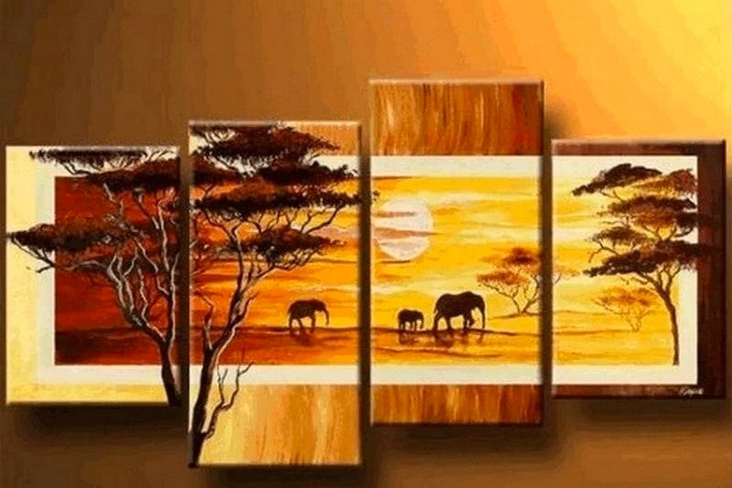 African Painting, Sunrise Painting, Buy Paintings Online, Animal Painting, Extra Large Painting, Living Room Wall Art