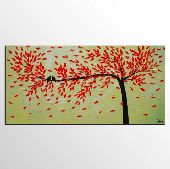 Love Birds Painting, Framed Artwork for Sale, Dining Room Wall Art, Canvas Art