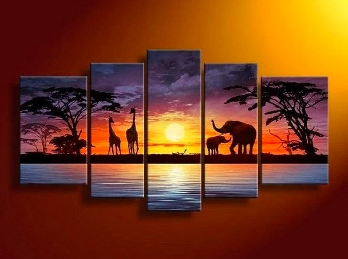 African Painting, 5 Piece Wall Art Paintings, Living Room Canvas Painting, African Landscape Painting, Sunset Painting