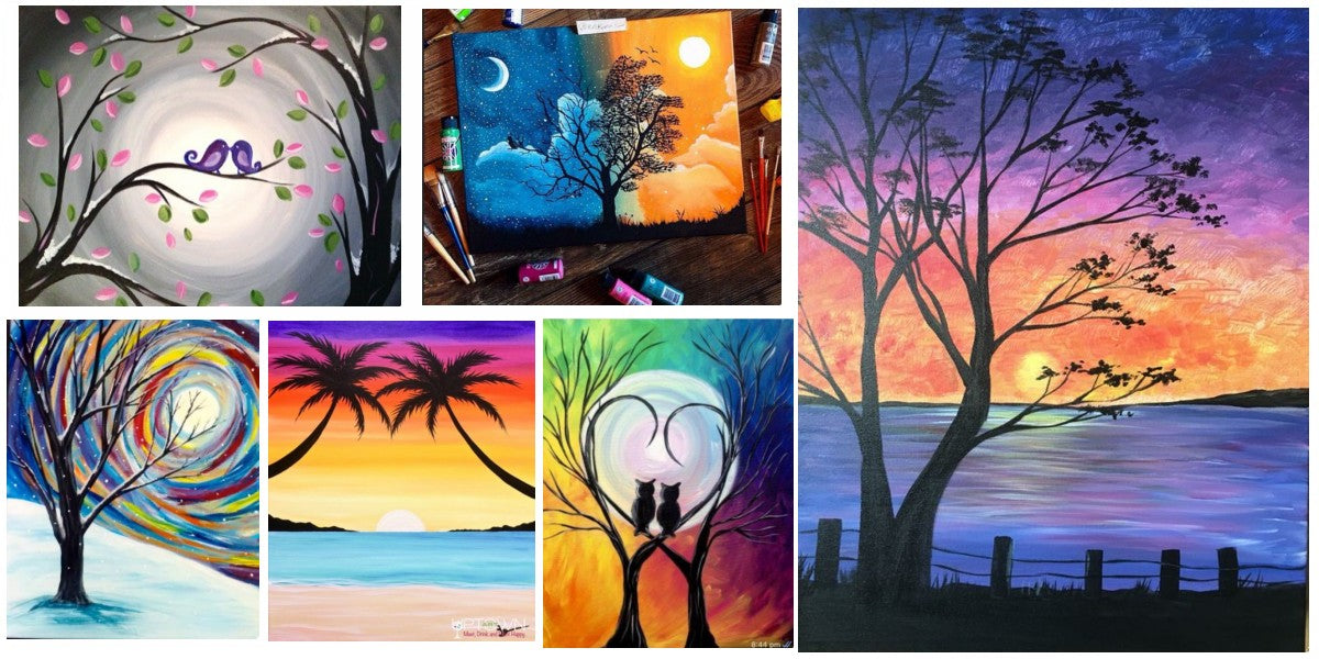 30 Easy Painting Ideas for Beginners, Easy Canvas Painting Ideas, Easy Tree Paintings, Easy Landscape Paintings, Simple Acrylic Painting Ideas for Beginners