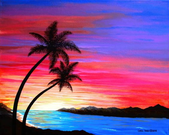 Easy sunset painting ideas, easy canvas painting ideas, easy acrylic paintings, simple wall art painting ideas for beginners, easy landscape painting ideas for beginners