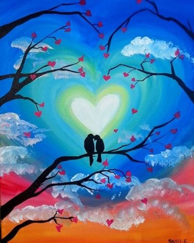 Easy love birds tree painting ideas, easy canvas painting ideas, easy acrylic paintings, simple wall art painting ideas for beginners, easy landscape painting ideas for beginners