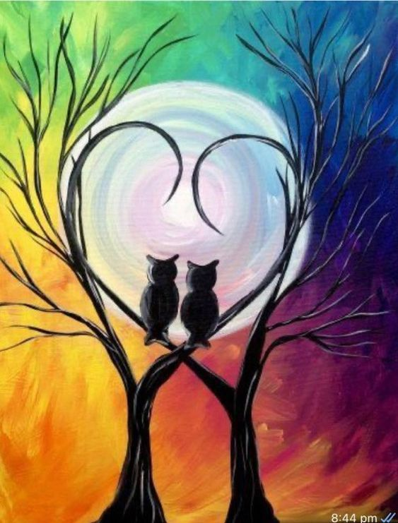Easy tree painting ideas, owl paintings, easy canvas painting ideas, easy acrylic paintings, simple wall art painting ideas for beginners, easy landscape painting ideas for beginners