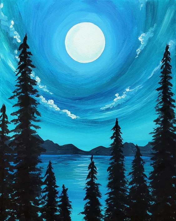 Easy night sky painting ideas, easy canvas painting ideas, easy acrylic paintings, simple wall art painting ideas for beginners, easy landscape painting ideas for beginners