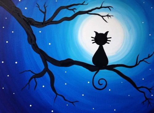 Easy tree painting ideas, cat paintings, easy canvas painting ideas, easy acrylic paintings, simple wall art painting ideas for beginners, easy landscape painting ideas for beginners