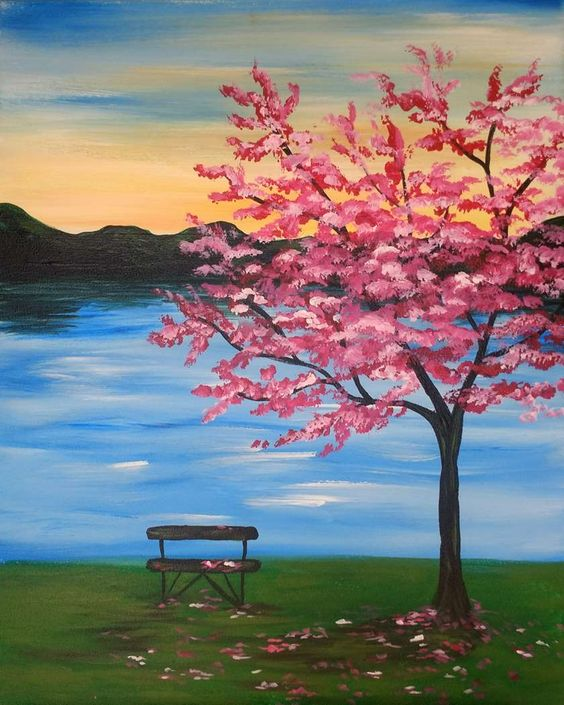 Easy tree painting ideas, easy canvas painting ideas, easy acrylic paintings, easy wall art painting ideas for beginners, easy landscape painting ideas for beginners