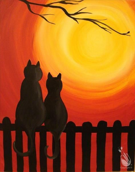 Easy love cats painting ideas, easy canvas painting ideas, easy acrylic paintings, simple wall art painting ideas for beginners, easy landscape painting ideas for beginners