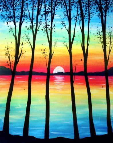 Easy tree painting ideas, sunrise painting ideas, easy canvas painting ideas, easy acrylic paintings, simple wall art painting ideas for beginners, easy landscape painting ideas for beginners