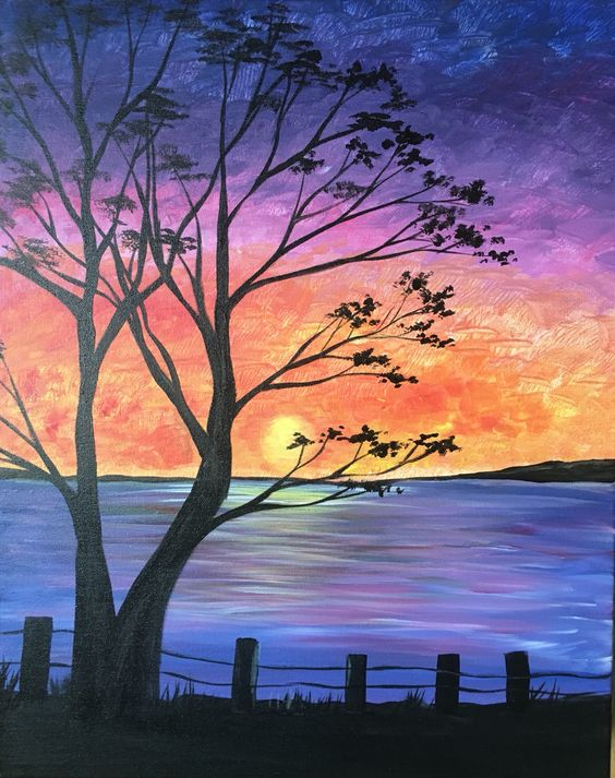Easy tree painting ideas, easy canvas painting ideas, easy acrylic paintings, simple wall art painting ideas for beginners, easy landscape painting ideas for beginners