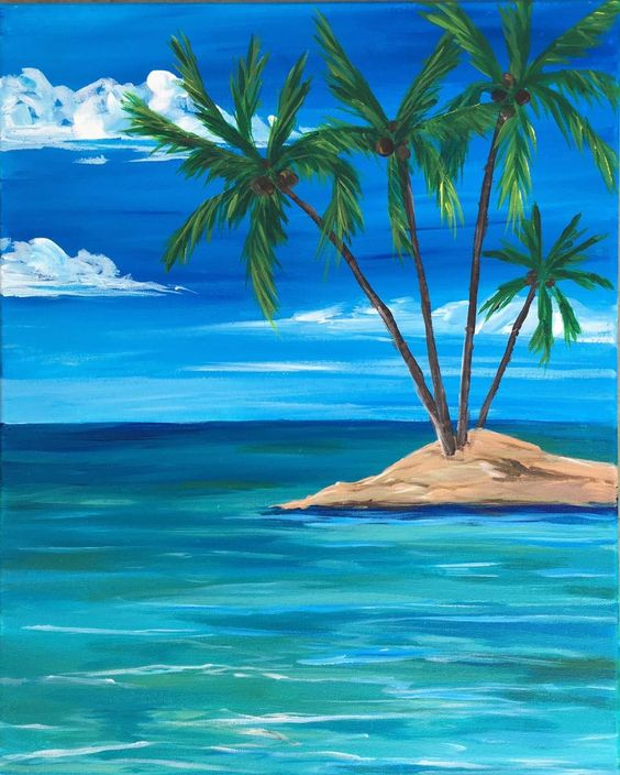 Easy seascape painting ideas, easy landscape painting ideas for beginners, easy canvas painting ideas, easy acrylic paintings, simple wall art painting ideas for beginners