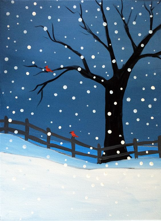 Easy winter bird tree painting ideas, easy canvas painting ideas, easy acrylic paintings, simple wall art painting ideas for beginners, easy landscape painting ideas for beginners