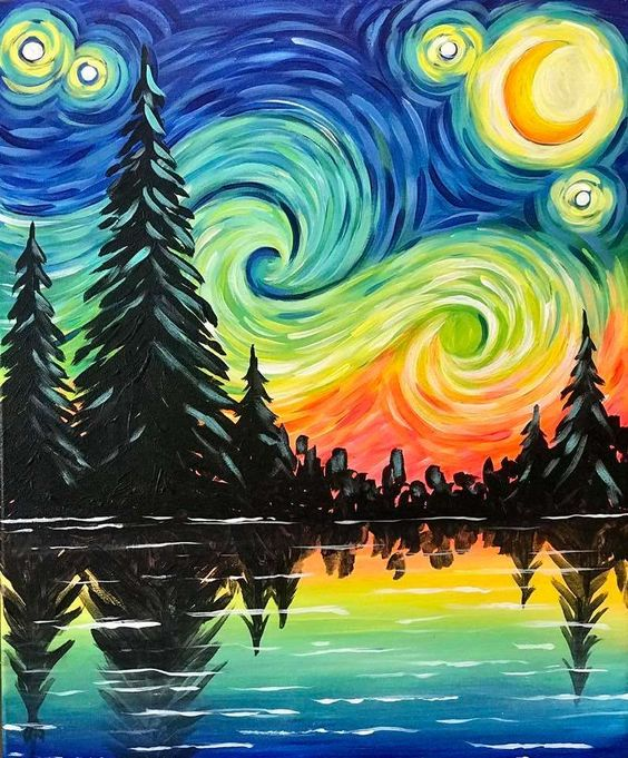 Easy nature landscape painting ideas for beginners, easy canvas painting ideas, easy acrylic paintings, simple wall art painting ideas for beginners