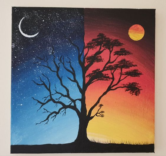 Easy landscape painting ideas for beginners, easy canvas painting ideas, easy acrylic paintings, simple wall art painting ideas for beginners